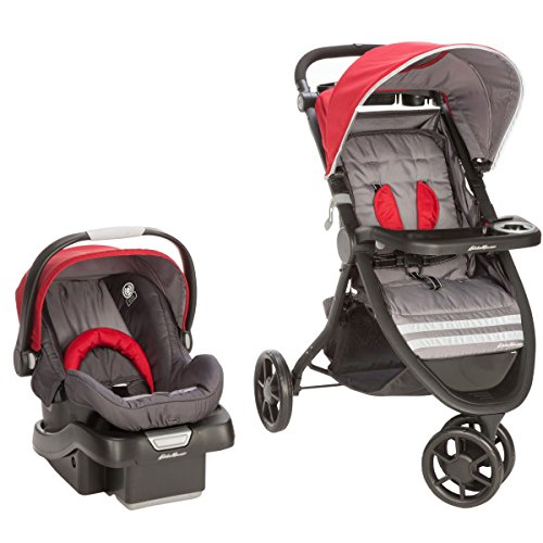 Eddie Bauer Alpine 3 Travel System with SureFit Infant Car Seat, Salsa Red