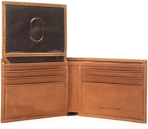 MUTBAK Citadel - Passcase Bifold Leather Wallet with RFID/NFC Blocking
