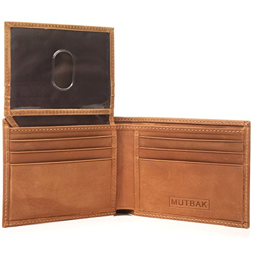- MUTBAK Citadel - RFID Blocking Bifold Wallet Passcase with Full Grain Leather and Flip Up ID (Durango)