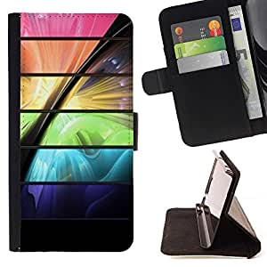 For Samsung Galaxy S4 Mini i9190 (NOT S4) Case , Espacio de color vibrante futurista- la tarjeta de Crédito Slots PU Funda de cuero Monedero caso cubierta de piel