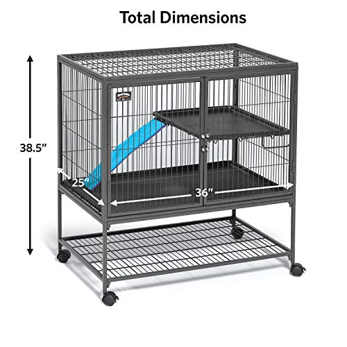 Picture of MidWest Deluxe Ferret Nation Single Unit Ferret Cage (Model 181) Includes 1 Leak-Proof Pans, 1 Shelf, 1 Ramps w/Ramp Cover & 4 locking Wheel Casters, Measures 36
