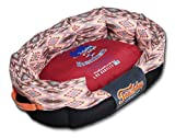 TOUCHDOG '70's Vintage-Tribal' Diamond Patterned Ultra-Plush Rectangular Rounded Pet Dog Bed Lounge, Large, Sangria Pink