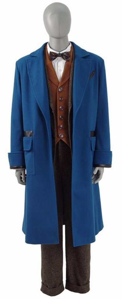 Xiao Maomi Mens Cosplay Costume Blue Overcoat Winter Suits Blazer Trench Coat (Man-M, Full Set)