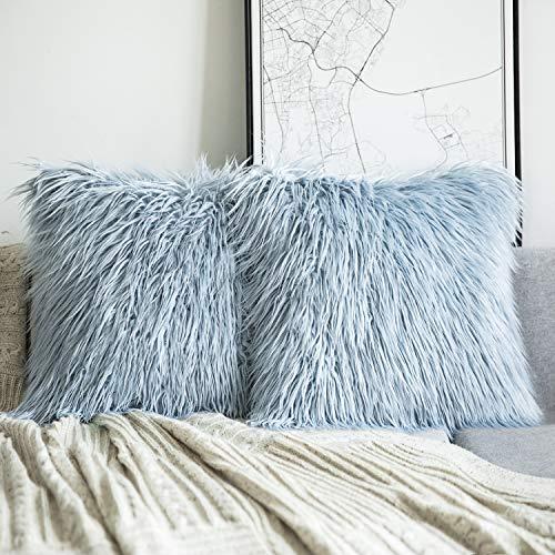 Phantoscope Set of 2 Light Blue Decorative New Luxury Series Merino Style Fur Throw Pillow Case Cushion Cover 18 x 18 inches 45cm x 45cm