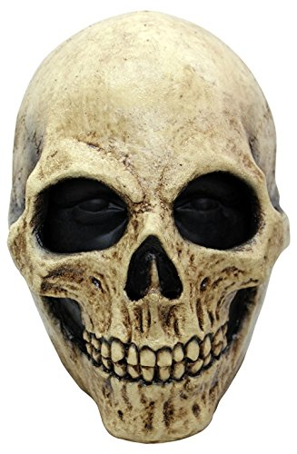 Ghoulish Productions Bone Skull Latex Mask, Beige / Black -