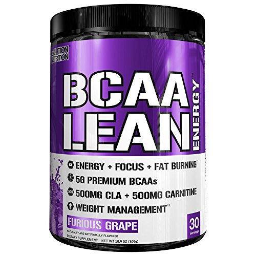 Evlution Nutrition BCAA Lean Energy - Energizing Amino Acid for Muscle Building Recovery and Endurance, with a Fat Burning Formula, 30 Servings (Furious Grape) (Bcaa 5000 Grape)