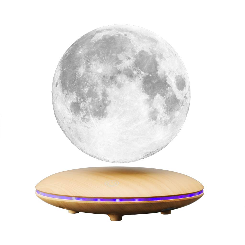 AOXIN Moon Lamp, 3D Printing Magnetic Levitation Moon Light Lamps with 360 Auto Rotating and 4 Working Light Modes - for Home、Office Decor, Creative Gift (5.5 Inch)