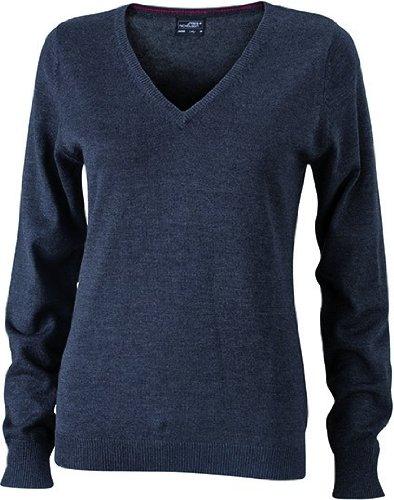Ladies' V-Neck Pullover - taillierter Damen V-Neck Pullover M,anthracite melange