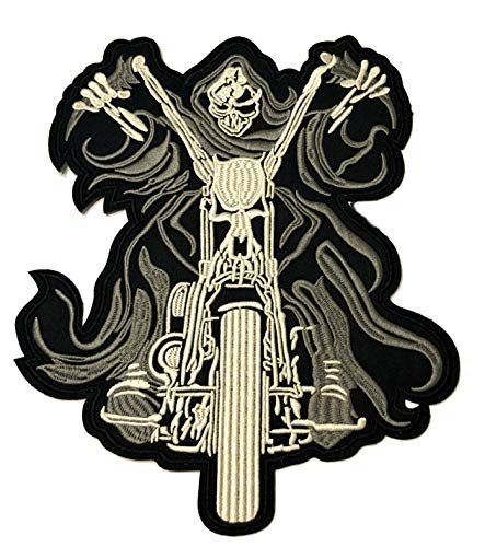 Grim Reaper Riding Embroidered Large Jacket Back Patch Motorcycle Club Biker Series Vests Ghost Skull Hog Outlaw Rocker Jumbo Iron or Sew-on Emblem Badge Appliques Application Fabric Patches