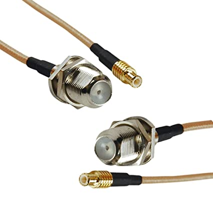 MCX Male to F Female Connector, 2pcs 20inch/1.7ft RF Coax Cable Extention