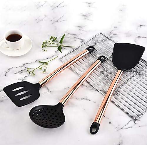 8 Stück Werkzeuge Rose goldene Edelstahl-Silikon-Löffel Suppenkelle Pfannenwender Turner Küche kochen Utensil Set Kochen