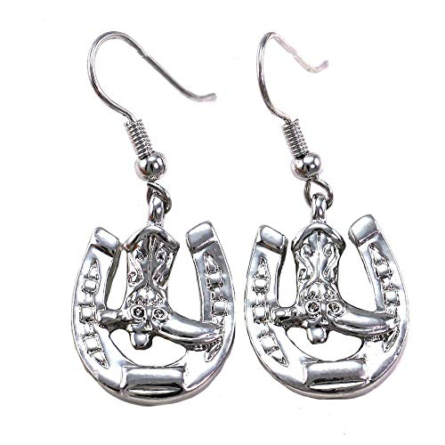 Horseshoe Horse Shoe Cowgirl Cowboy Boots Hoop Dangle Drop Earrings Cowgirl Charm 3/8' Horseshoe Dangle Earrings