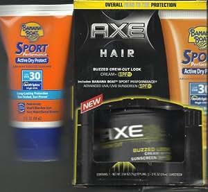 Axe Hair Crew Cut Buzzed Look Cream SPF 15 with Bonus Banana Boat Sport Performance Advanced Sunscreen Lotion SPF 30
