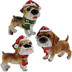3 Christmas Table Decorations for Dinner Party Coffee Table Santa Hat Dog Merry Christmas Happy Holidays Centerpiece for Office Desk Shelf Kitchen Home Holiday Decor