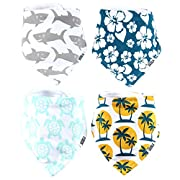 "Stadela Baby Bandana Drool Bibs for Drooling and Teething 4 Pack Unisex Gift Set for Boys and Girls ""Beach Bum set"" Surfing Surf"