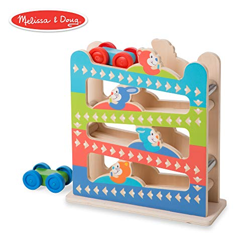 Melissa & Doug First Play Roll & Ring Ramp Tower (Cars and Vehicles, 2 Wooden Cars, 12.625