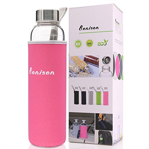 BONISON Stylish Top-Quality Environmental Borosilicate Glass Water Bottle