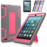 All-New Amazon Fire 7 Tablet Case, Cherrry Heavy Duty Shockproof Hybrid Full Body Protective Case Build in Kickstand for Amazon Fire 7(2017 Release) +Screen Protector Film + Stylus Pen (Gray/Pink)