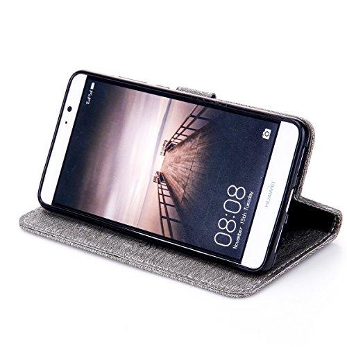 Funda Huawei Mate 9, Carcasa Huawei Mate 9, Funda de brillo Huawei Mate 9, Lifetrut Sólido Shiny Sparkle Libro de Estilo de Cuero con Ranura para Tarjetas de Cierre Magnético Soporte Funda de Teléfono E202-Gris