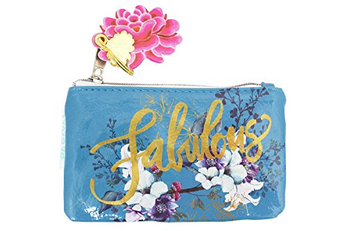 l Flower Oil Cloth Keychain Coin Purse ()