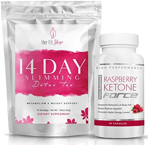 Raspberry Ketone Force and Her Fit Shape 14 Day Detox Tea Bundle -- Natural Weight Loss Supplement and Tea Cleanse to Lose Weight - Improve Energy - Reduce Belly Fat and Bloating (2 Items)