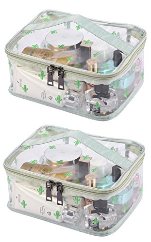 LOUISE MAELYS Portable Clear Makeup Bag Zipper Waterproof Transparent Travel Storage Pouch Cosmetic Toiletry Bag With Handle (All Match Clear Travel Bag)