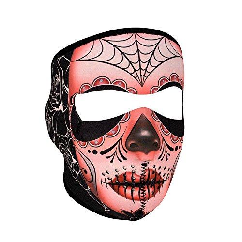 Muerte Sugar Skull Day of Dead Reversible to Black Neoprene Full Face Mask Calavera