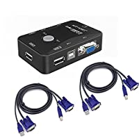 iKKEGOL 2 Port USB 2.0 KVM Switch SVGA VGA Switch Box 2 KVM Cables for PC Keyboard Mouse