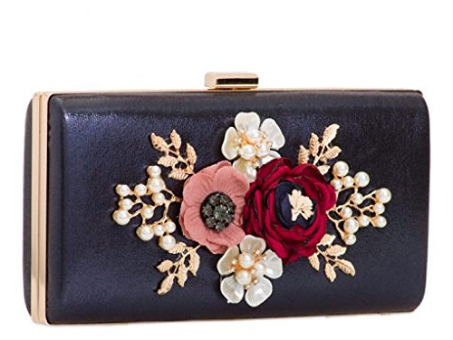 2095 Bag Floral Women's Leahward Evening Wedding Case Handbag Clutch Hard Grey RFYwqz