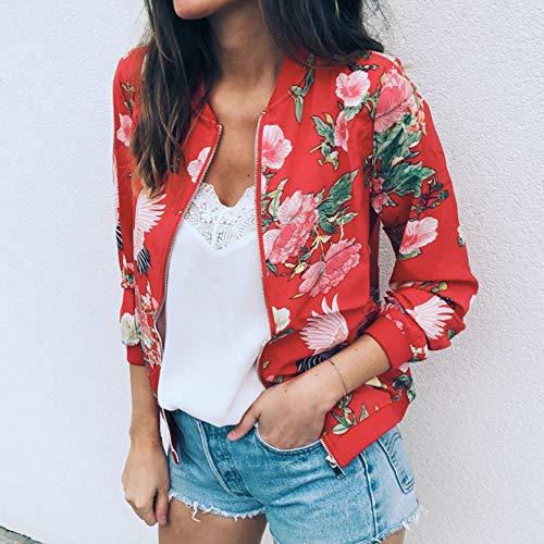 Malloom Rouge Femmes Manches Imprimé Rétro Zipper Chic Lâche Longues Imprimée À Outwear Manteau Veste Floral 54fT6w