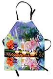 Lunarable Spa Apron, Asian Stones Aromatherapy Relaxation Meditation Zen Nature Bamboo Stems Yoga Concept, Unisex Kitchen Bib Apron with Adjustable Neck for Cooking Baking Gardening, Multicolor