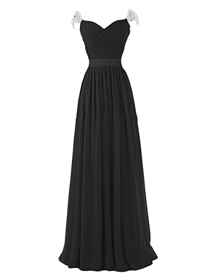 Dresstells Ruffles Off The Shoulder Evening Party Formal Prom Dress Pearls Empire Long Chiffon Dress Black