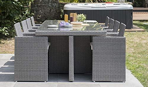 DCB - Comedor empotrable de 8 plazas en resina trenzada (1 mesa con tablero de cristal + 8 sillones de resina trenzada de PVC), color gris oscuro: Amazon.es: Jardín