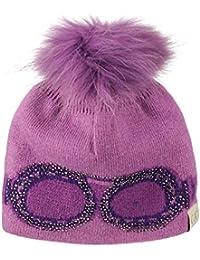 f2a75e58612 Kids  Children s Shiny Rhinestone Goggles Detachable Raccoon Fur Pom Knit  Beanie Cap Hat