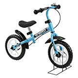 ENKEEO 12 inch Balance Bike No Pedal with Bell and Hand Brake for 3-6 Year Old Kids, Carbon Steel Frame, Adjustable Handlebar, Seat and Stand, 50kg Capacity, Blue