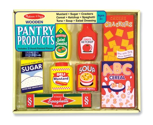 Melissa & Doug Wooden Pantry Products Play Food Set (9 pcs)