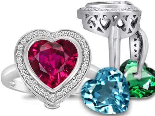 Switch-It Gems Heart-Shape 10mm Simulated Ruby Halo Ring with 12 Simulated Birth Months Sterling Silver