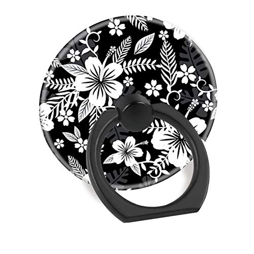 Hawaiian Ring Flowers (Cell Phone Finger Ring Holder Pop Stand Car Mount Socket Works for Iphone 5 6 7 8 X Plus Samsung Galaxy S8 S9 Ipad-Hawaiian flower Black)