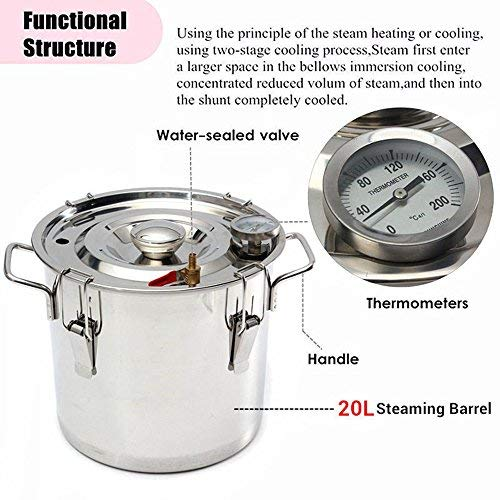 ECO LLC 5Gal Alcohol Distiller Water Distiller Stainless Copper 20L Boiler Home Brew Kit by ECO LLC (Image #2)