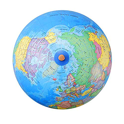 """World Globes with Wooden Stand for Kids - size 9"""" Educational World Globe with Stand Adults Desk Geographic Globes Discovery World Globe Educational Toy - Geography Learning Toy (9 Inch)"""
