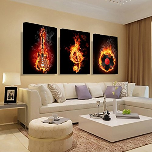 YXT ARTS Music 3 Piece Canvas Wall Painting Abstract Home Decor Black Burning Guitar Pop Art Pictures Canvas Decoration Posters Framed Gift (Wall Abstract Guitar)
