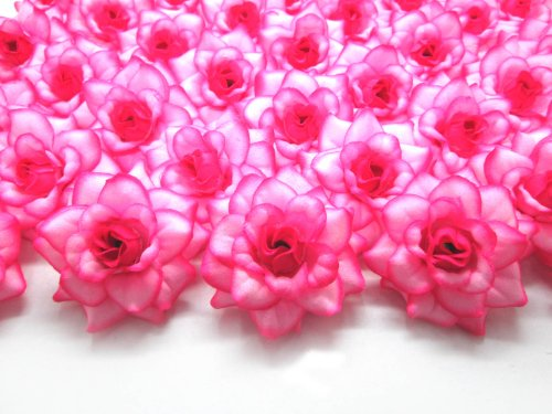 (100) Silk Hot Pink Edge Roses Flower Head - 1.75' - Artificial Flowers Heads Fabric Floral Supplies Wholesale Lot for Wedding Flowers Accessories Make Bridal Hair Clips Headbands Dress