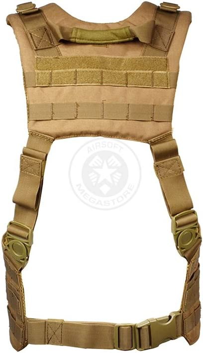 Photo of the Condor Tactical Ronin Chest Rig Split Vest in tan hue, with padded H-Harness with hook & loop, D-rings, and webbing.