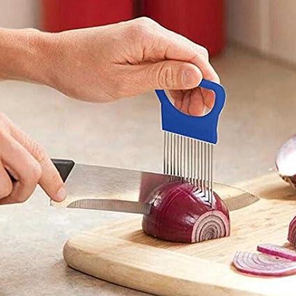 Easy Onion Holder Slicer Vegetable Tools Tomato Cutter Stainless Steel Kitchen S