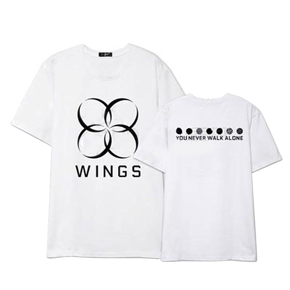 Discovery Unisex Kpop BTS T-Shirt Bangtan Boys BTS Wings Album You Never Walk Alone Top Suga Jin JIMIN Jung Kook J-Hope Rap-Monster V