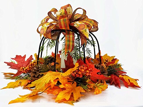 Handmade Fall Pumpkin Wrought Iron Centerpiece, Thanksgiving Pumpkin Centerpiece, Pumpkin Candle Holder, Pumpkin Centerpiece with Pine cones - Pine Iron
