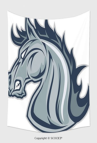 Horse Henry The Mascot (Home Decor Tapestry Wall Hanging Horse Or Mustang Head Mascot 410350756 for Bedroom Living Room Dorm)
