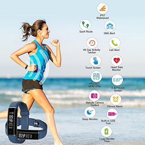Shinmax Perseguidor de la Aptitud, Reloj del perseguidor de la Actividad con el Monitor del Ritmo cardíaco, Pulsera Elegante Impermeable IP67 con el ...