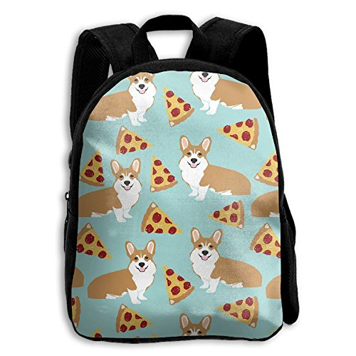 8120f2999ba9 Corgi Pizza Pet Cute Food Kid Boys Girls Toddler Pre School Backpack Bags  Lightweight From KBGP Bag