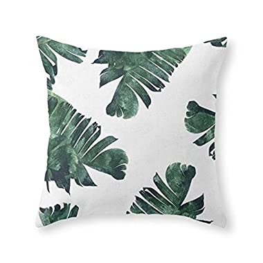 Society6 Banana Leaf Watercolor Pattern #society6 Throw Pillow Indoor Cover (18  x 18 ) with pillow insert